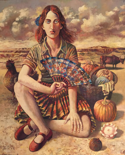 Woman in desert (100х85 oil on canvas)