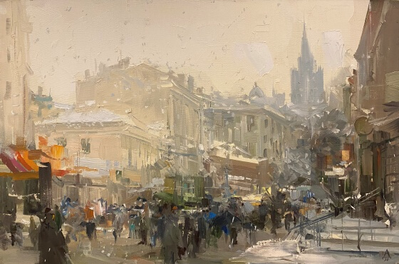 Moscow. Old Arbat street  40x60  oil on canvas