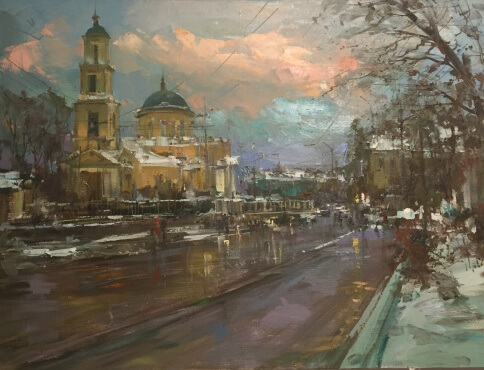 Moscow.  Malaya Nikitskaya str.   canvas,oil   60x80