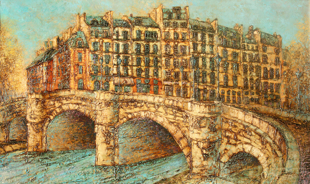 Paris. Bridge Pont Nef  (70x100  oil on canvas)