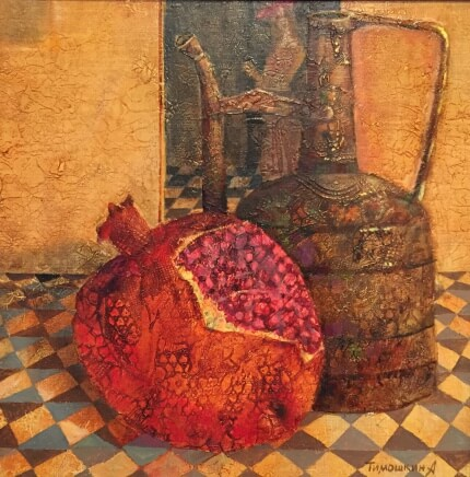 Still life with garnet (40x40 oil on canvas)