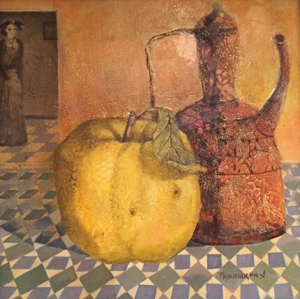 Still life with quince (40x40 oil on canvas)