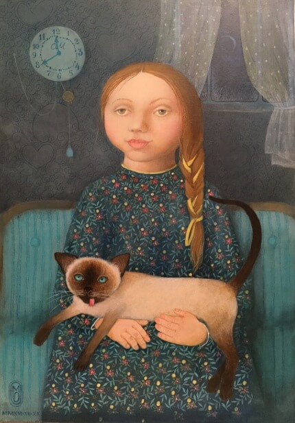 The girl with a cat    75x50