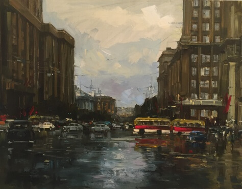 Moscow,  sixties.     canvas, oil   60x80